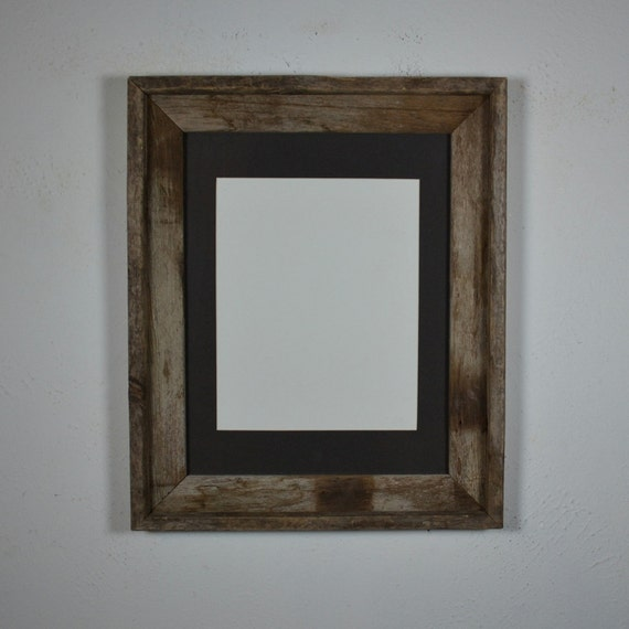11x14 Barnwood Picture Frame With Charcoal 8x10 Mat