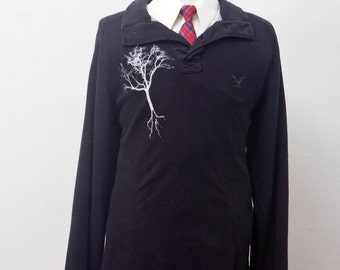 Men's Cotton Sweater / Upcycled American Eagle Henly with Screen Printed Tree / Size XL