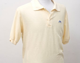 Men's Polo Shirt / Vintage Yellow Summer Shirt by Garan / Size Large