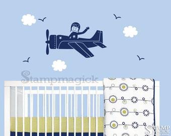 Airplane Wall Decal Sticker for Nursery - boy and airplane vinyl wall decal decor for baby boy - K043