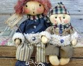 CF238 January's Freezin' Season - PDF ePattern Raggedy & Snowman Cloth Doll Patterns