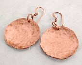 Shiny Hammered Copper Disc Earrings