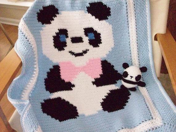 Free Crochet Panda Afghan Patterns : Panda Bear Lapghan Afghan Crib Blanket Stroller Blanket