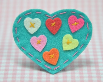 Set of 6pcs handmade felt heart---tropical turquoise (FT820)