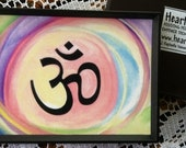 OM Symbol Magnet Hindu AUM Motivational Yoga Meditation Gift Sacred Sanskrit Letters Spiritual Quotation Heartful Art by Raphaella Vaisseau