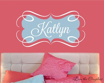 Name Wall Decal • Swirl Frame Wall Decal • Fancy Script Font Wall Decal • Girls Room Nursery Decor • Large Name Wall Decal