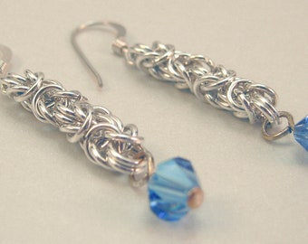 Chainmaille Byzantine and Swarovski Drop Earrings Sterling Silver