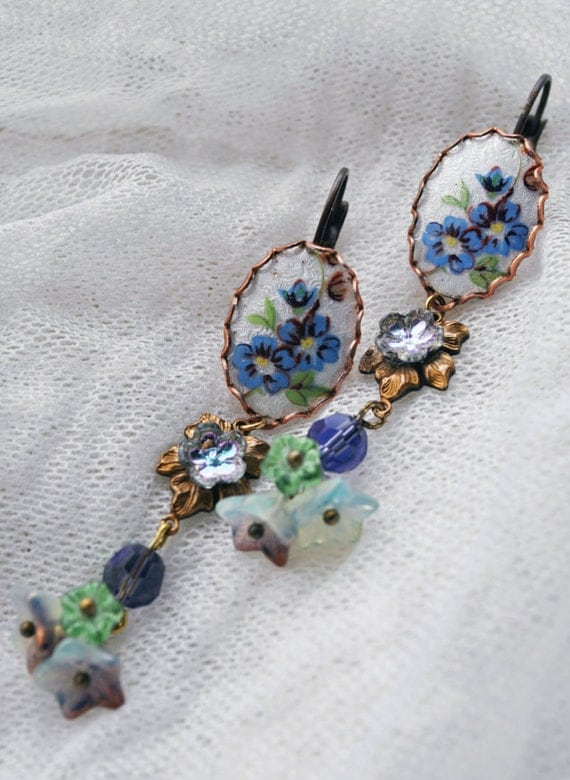 Bouquet of Vintage Spring Flowers - hyacinth, periwinkle, forget-me-not's, lavender, vintage guilloche, long dangle earrings, leverback