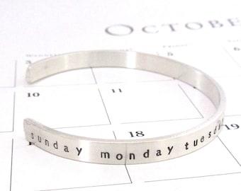 DAYS of THE WEEK Sterling Silver Cuff Bracelet - Back to School - Teacher's Gift - First Grade Teacher - Kindergarten - Teacher Appreciation