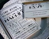 Art Deco Wedding Invitations - Gatsby wedding, vintage inspired, antique, glam wedding, hollywood,1920's