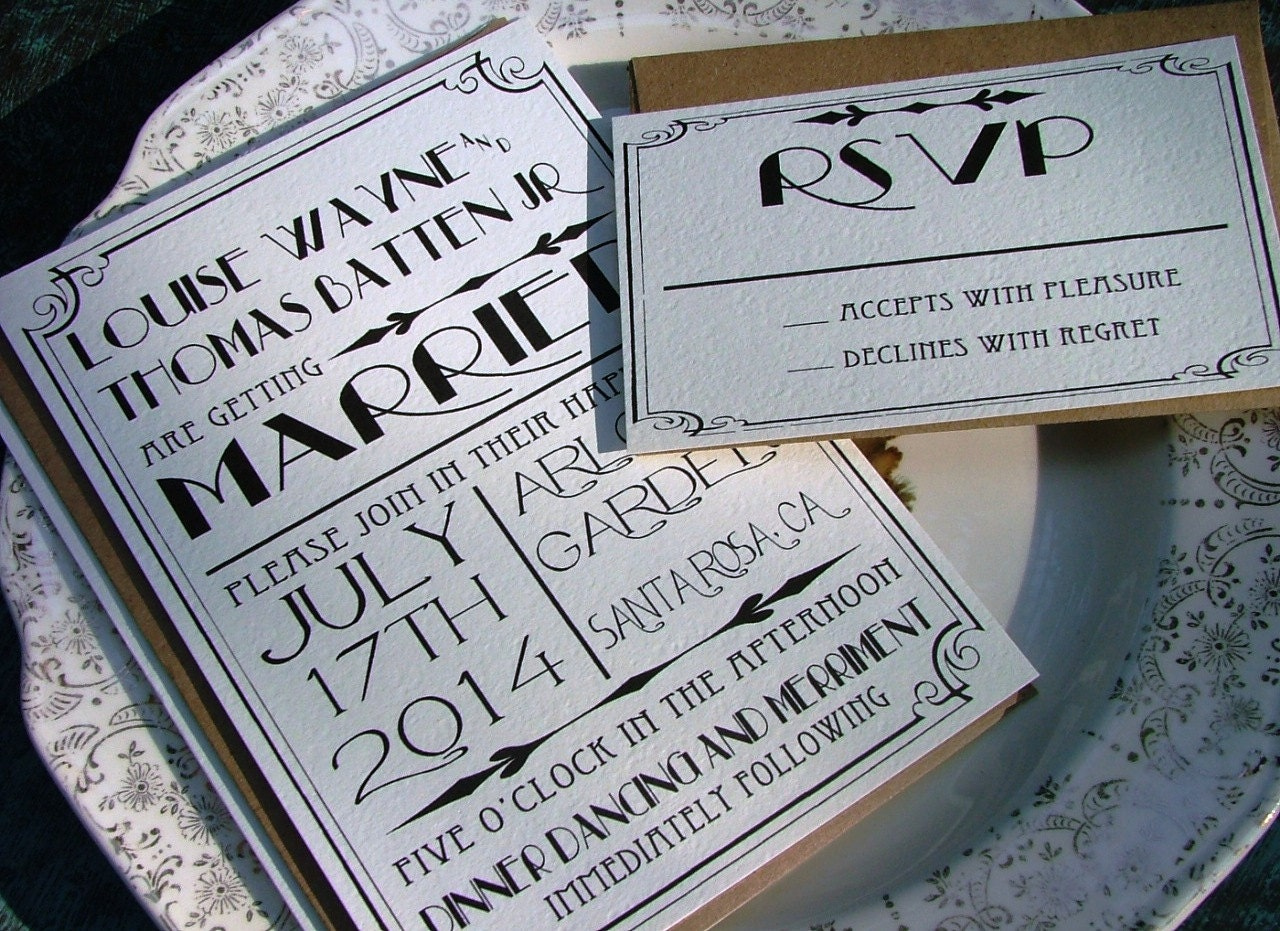 Great Wedding Invites: Great Gatsby Wedding Invitation Set 1920s Wedding Invitation