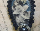 Bedwina- altered collage assemblage brooch