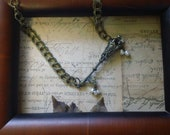 Under Lock and Key- antiqued brass Skeleton key necklace with Pearl Beads ooak handmade necklace