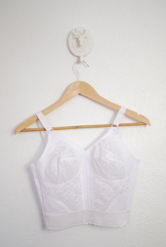 vintage 1970s / NOS / white lace / bustier / bra top / bullet bra / pin up / 34B