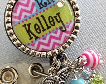 RN Personalized Id Badge Reel nurse, nurse graduate gift ccu, cardiac nurse, LMT, PINK chevron print, Cardiac Rehab.,caduceus, technician