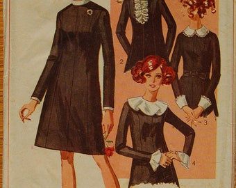 "1960s vintage original Simplicity 7843 sewing pattern A-Line dress bust 36"""