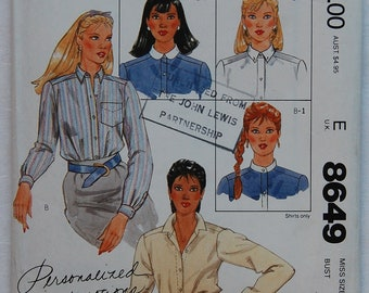 """1980s vintage original McCall's 8649 sewing pattern for women's shirt Bust 40"""""""
