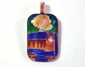 Ginger Orange Tabby and Cat Lady Pendant SALE/ Wearable Art Jewelry