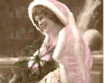 French Christmas, Lovely Cecile - French Postcard 1908 - Scan, Gift Tag - Instant Digital Download FC015