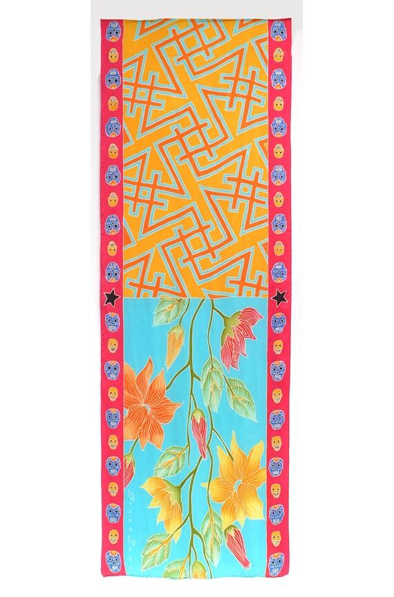 Silk Scarf Handpainted, Flower scarf, Graphic scarf, Skulls Silk Scarf, Hand Painted, Hand made scarf, Unique gift for girlfriend, Art scarf