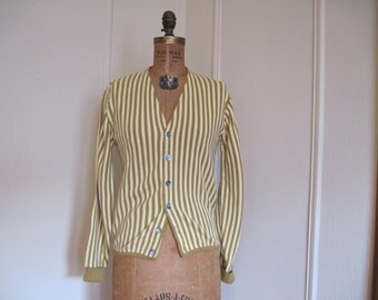 Mustard Stripe -  vintage 1960s Cardigan Sweater -  size medium to large