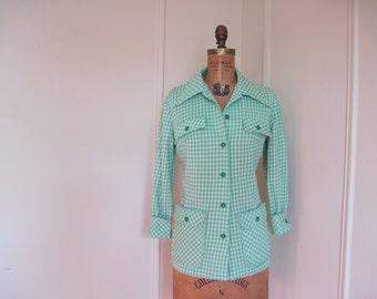 1970s Green Checked Safari Jacket - vintage Picnic Plaid Blazer - size medium to large