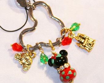 Gold Christmas Rhinestone Bling WRIST Lanyard Mickey Minnie Mouse Style Disney Inspired DeSIGNeR Key Fob Name Badge Keychain ID Badge Holde
