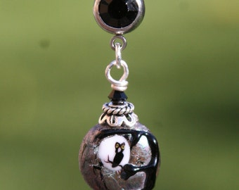 Night Owl in Moon Lampwork Glass Bead DeSIGNeR Belly Button Ring Navel Piercing Tattoo