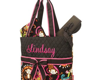 Diaper Bag Personalized Monkey Brown Quilted Monogrammed Baby Tote