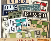 Odds & Ends oo1 | Vintage Bingo and Lotto Cards | Printable Collage Sheet