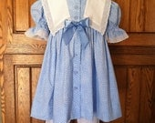 LIttle Girls Blue Party Dress with Sailor Collar and Pantaloons