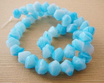 Aqua Czech Glass Beads, Nugget strand