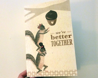 Romantic Squirrel  Printable PDF Love Card Better Together for Valentines, Anniversary, or I Love You