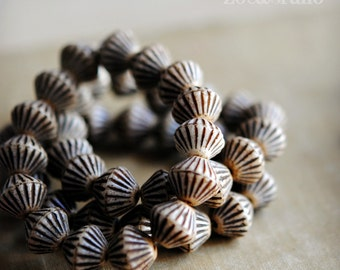 Natural Beauty - Czech Glass Beads, Opaque Beige, Brown Picasso, Round Bicones 11x10mm - Pc 6