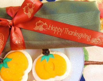 Happy Thanksgiving Ribbon - Choose Your Colors