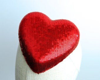 Red Sequin Heart Cocktail Hat Fascinator Love Hearts Collection