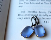 Blue Glass Earrings,  Estate Style Drop Earring Matte Blue Glass Rectangles Beautiful Blue Something Borrowed Something Blue