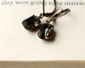 Black Diamond Rhinestone Earrings, Black Diamond Petites, Estate Style Glass Earrings Drop Earrings Vintage Jewel Earrings Dark Grey