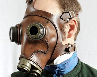 Steampunk Gas mask No. 66 in mahogany brown leather