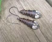 Wire Wrap Crystal Earrings Chandelier Crystal Earrings Rustic Dangle Earrings Wire Wrap Earrings  DanielleRoseBean Crystal Earrings