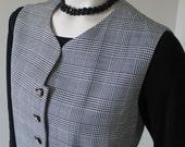 Vintage 1980s Black White Houndstooth Plaid Menswear Inspired Vest for Her