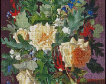 A Still Life With  YELLOW ROSES And FRESSIA  cross stitch pattern No.672