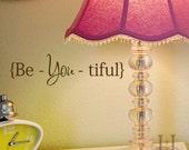 Beautiful decal sticker Be You Tiful  wall quote word, Beyoutiful ,Beautiful fashion decals Valentine
