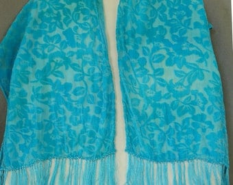 Burnout Velvet Scarf, Hand Dyed, Turquoise Floral