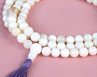 108 or 111 Bead Mother of Pearl Mala Necklace with Silk Tassel - Mother of Pearl Tassel Necklace Buddhist Prayer Beads
