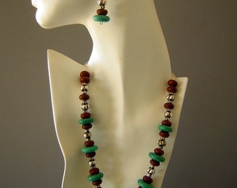 Bold Southwestern Chunky Necklace & Earring Set - Sterling Silver Plate Jasper by DecadencePast