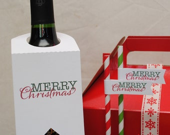 Merry Christmas Bottle Tags - Set of 6