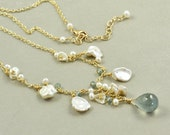 Moss Aquamarine Necklace, Keishi Pearl Necklace, March Birthstone Jewelry