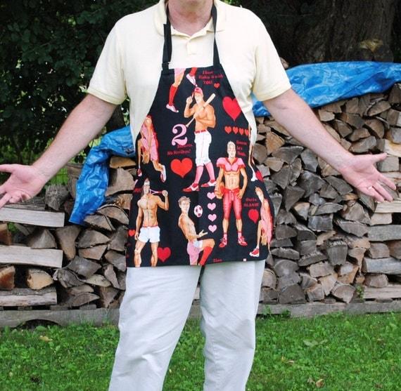 Handmade BBQ Apron Sporty Guys  Unisex Men Women Alexander Henry Chef Apron