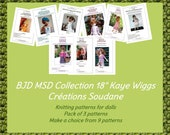 Collection pack of 3 PDF Knitting Patterns BJD Kaye Wiggs 18 inches dolls To choose